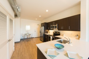 Kitchen and dining area at MKT Apartments in Wilmington DE