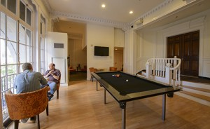 Billiards area at ResideBPG Apartments in Wilmington