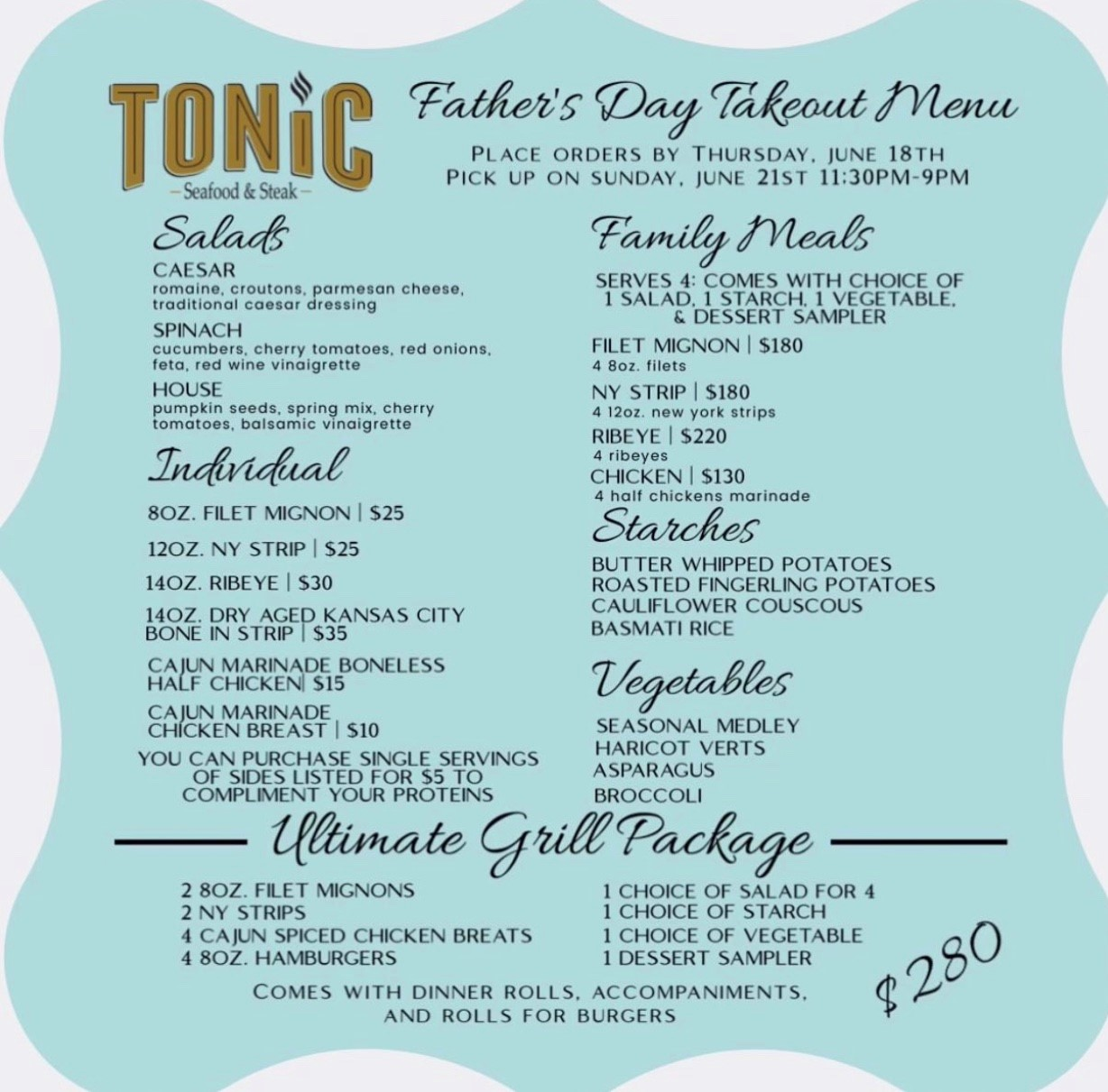 Father's Day Menu For Tonic in Wilmington