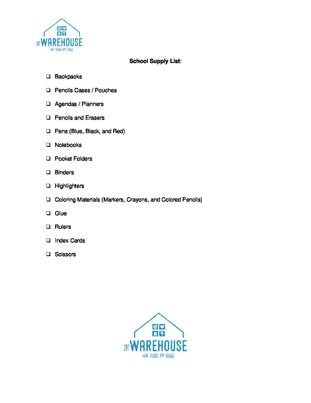 WH School Supply List