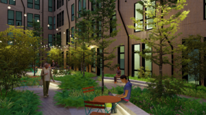 Rendering of an outdoor courtyard at the cooper with lush greenery, long table for workspace, and hanging lights